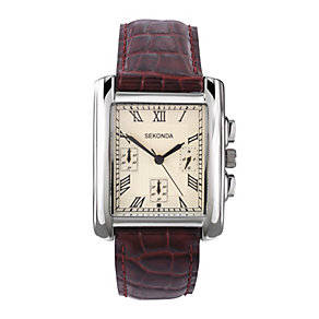 Sekonda Men's Chronograph Brown Leather Strap Watch - Product number 1961616