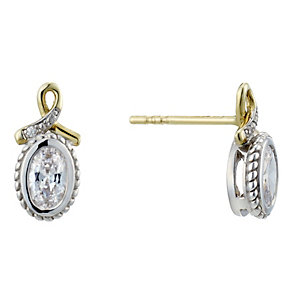 Sterling Silver & 9ct Gold Cubic Zirconia Stud Earrings - Product number 1961675