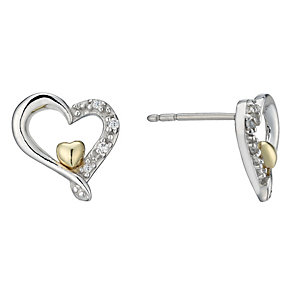 Sterling Silver & 9ct Gold Cubic Zirconia Stud Earrings - Product number 1961683