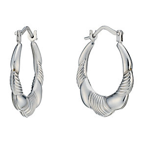 9ct White Gold Striped Ridged Creole Earrings - Product number 1961748