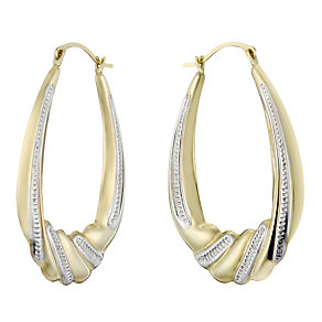 Together Bonded Silver & 9ct Gold Large Creole Earrings - Product number 1961799