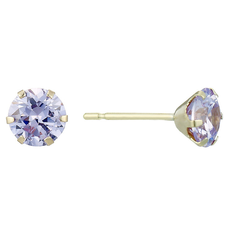 9ct Gold Lavender Cubic Zirconia Round Stud Earrings - Product number 1961829