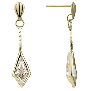 9ct Gold Cubic Zirconia Diamond Shaped Drop Earrings - Product number 1961845
