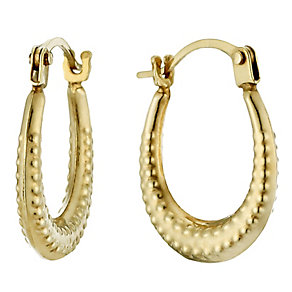 9ct Gold Beaded Oval Creole Earrings - Product number 1961861