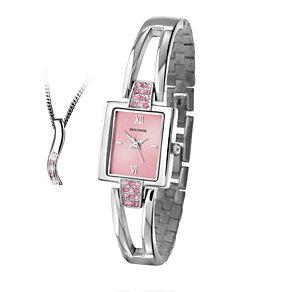 Sekonda Ladies' Semi-Bangle Watch and Pendant Gift Set - Product number 1961888