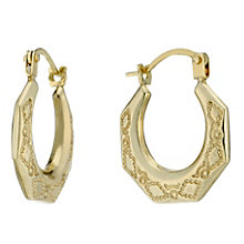 9ct Gold Diamond Pattern Hexagonal Creole Earrings - Product number 1961896