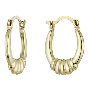 9ct Gold Ridged Small Creole Earrings - Product number 1961918