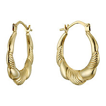 9ct Gold Striped Oval Creole Earrings - Product number 1961926