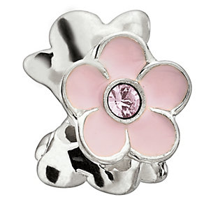 Chamilia Sterling Silver Crystal Blooming Pink Jasmine Bead - Product number 1962264