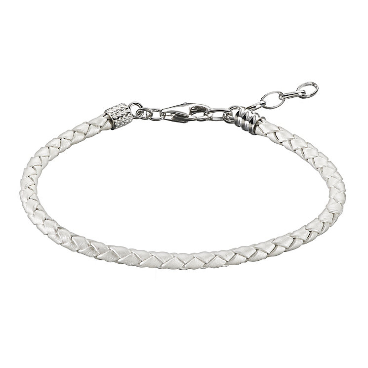 Chamilia White Metallic Braided Leather One Size Bracelet - Product number 1962612