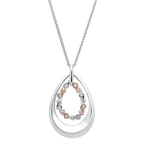Clogau Silver & Rose Gold Pear Shaped Pendant - Product number 1964119