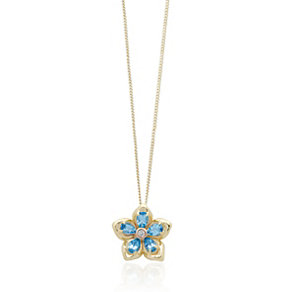 Clogau Blue Topaz & Diamond Forget Me Not Pendant - Product number 1964127