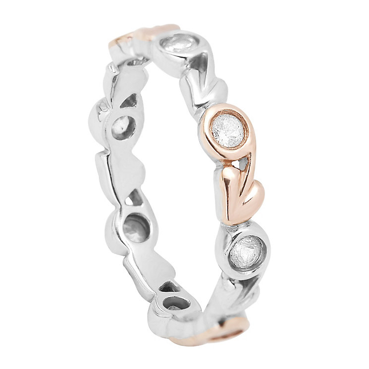 Clogau Silver & Rose Gold White Topaz Ring - Product number 1964267