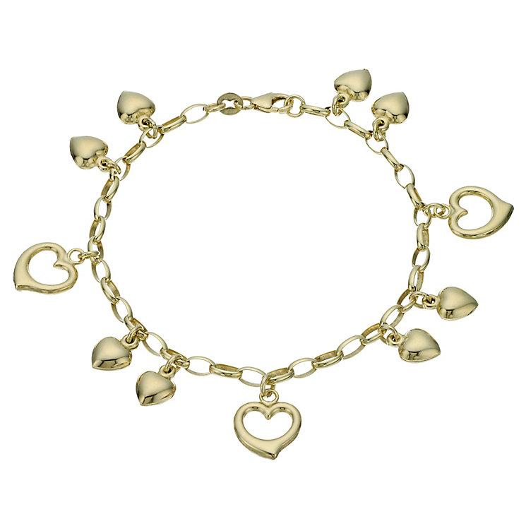 "Together Bonded Silver & 9ct Gold 7.5"" Heart Charm Bracelet - Product number 1968904"