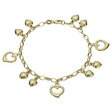 "Together Bonded Silver & 9ct Gold 7.5"" Heart Charm Bracelet - Product number 1968904"