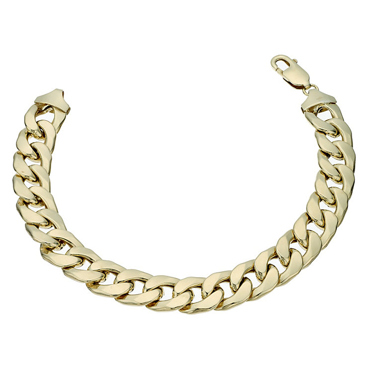 "Together Bonded Silver & 9ct Gold 8.5"" Oval Curb Bracelet - Product number 1968912"