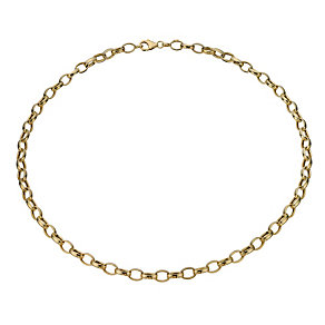 """Together Bonded Silver & 9ct Gold 20"""" Open Belcher Necklace - Product number 1968947"""