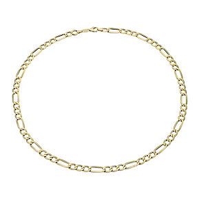 "Together Bonded Silver & 9ct Gold 20"" 140G Figaro Necklace - Product number 1968971"