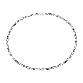 "Sterling Silver Rhodium-Plated 17"" Figaro Chain Necklace - Product number 1969013"