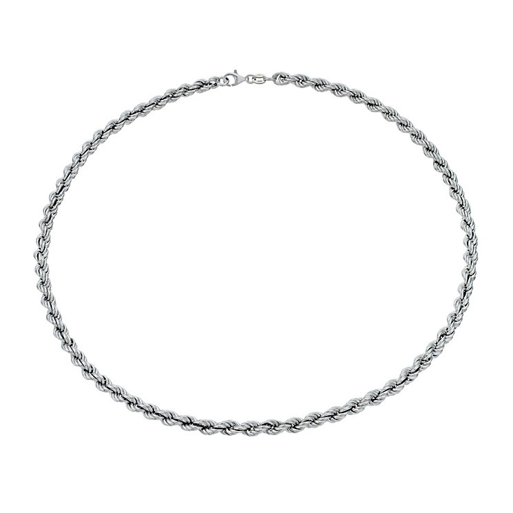 """Sterling Silver Rhodium-Plated 17"""" Rope Chain Necklace - Product number 1969048"""