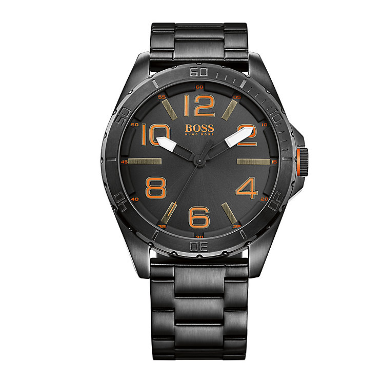 Boss Orange Gents Stainless Steel Black Dial Bracelet Watch - Product number 1973142