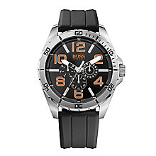 Boss Orange Gents Stainless Steel Black Rubber Strap Watch - Product number 1973169