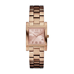 Guess Ladies' Square Dial Rose Gold Plated Bracelet Watch - Product number 1973568