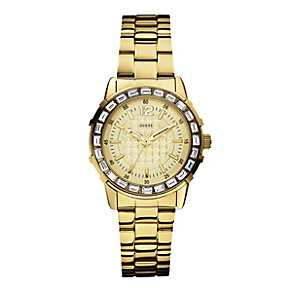 Guess Ladies' Stone Set Gold-Plated Bracelet Watch - Product number 1973576
