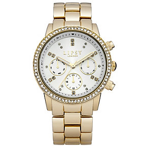 Lipsy Ladies' White Stone Set Dial Gold Tone Bracelet Watch - Product number 1976346