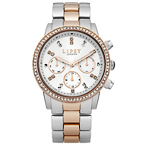 Lipsy Ladies' White Stone Set Dial Two Tone Bracelet Watch - Product number 1976788