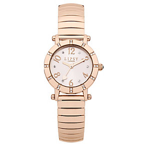 Lipsy Ladies' Pink Round Dial Rose Gold Tone Expander Watch - Product number 1976842