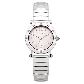 Lipsy Ladies' Pink Round Dial Silver Tone Expander Watch - Product number 1976877