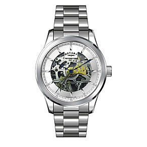 Rotary Men's Skeleton Dial Stainless Steel Bracelet Watch - Product number 1976982