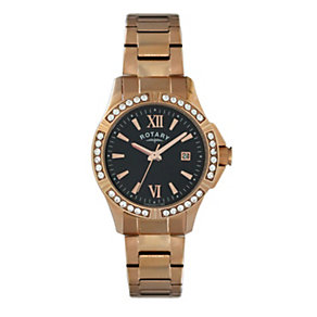 Rotary Ladies' Stone Set Rose Gold-Plated Bracelet Watch - Product number 1977016