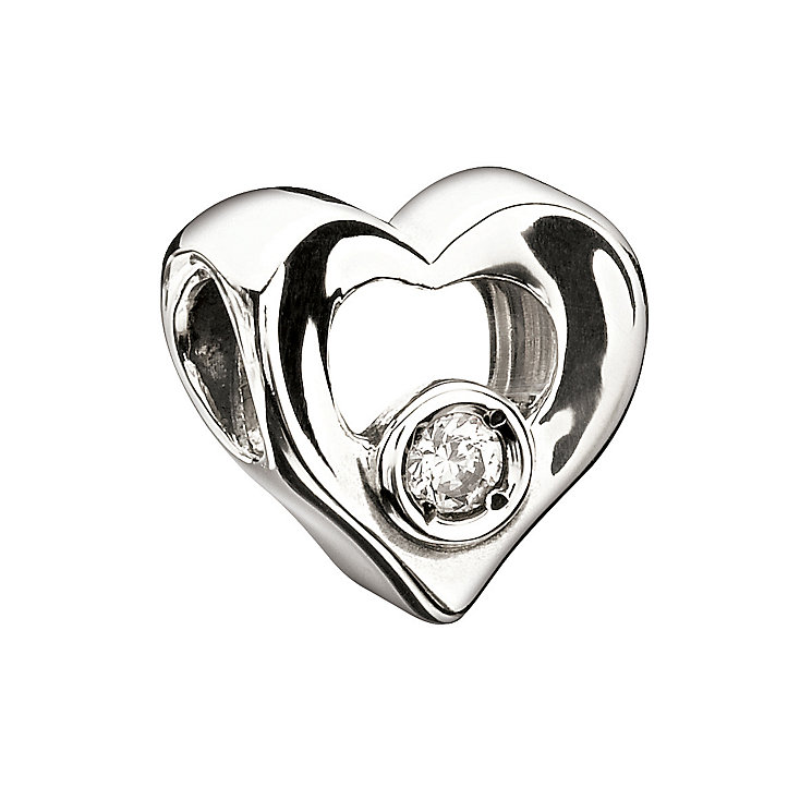 Chamilia Sterling Silver Cubic Zirconia Heart Bead - Product number 1986422