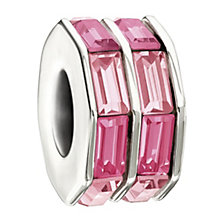 Chamilia Sterling Silver Baguette Cut Pink Crystal Bead - Product number 1986511