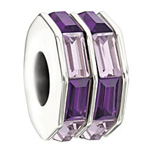 Chamilia Sterling Silver Baguette Cut Purple Crystal Bead - Product number 1986554