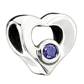 Chamilia - Silver Purple Stone Heart Bead - Product number 1987097