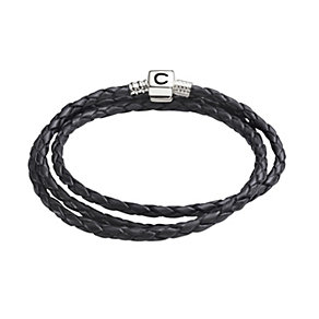 Chamilia Sterling Silver & Black Leather 22.2