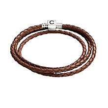 "Chamilia Sterling Silver Brown Leather 22.2"" Bracelet - Product number 1987518"