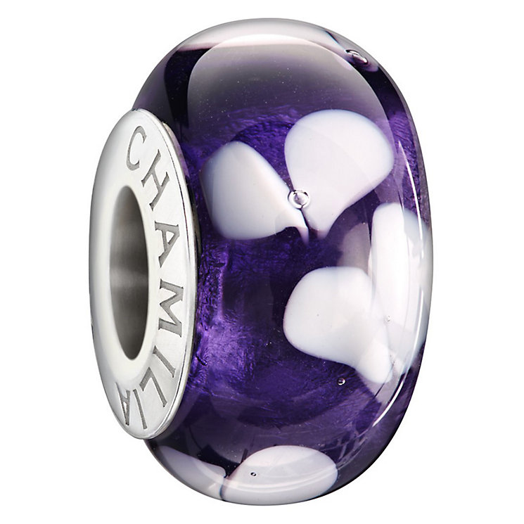 Chamilia Silver Purple Dichroic Murano Glass Hearts Bead - Product number 1987569