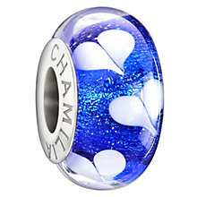 Chamilia Silver Blue Dichroic Murano Glass Hearts Bead - Product number 1987593