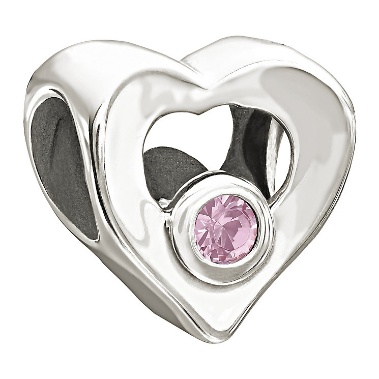 Chamilia Sterling Silver Pink Cubic Zirconia Heart Bead - Product number 1988115