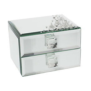Glass & Crystal Two Drawer Jewellery Box - Product number 1988859