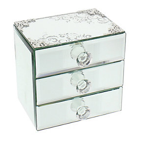 Glass Scroll Pattern Three Drawer Jewellery Box - Product number 1988905