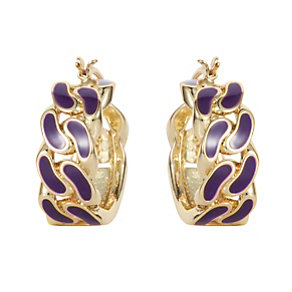 Henry Holland Gold-Plated Purple Enamel ID Hoop Earrings - Product number 1989685