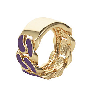 Henry Holland Gold-Plated Purple Enamel ID Ring Size Medium - Product number 1996258