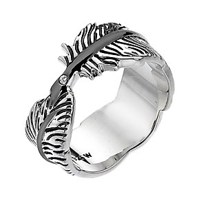 Hot Diamonds Sterling Silver Feather Ring Size P - Product number 1996932