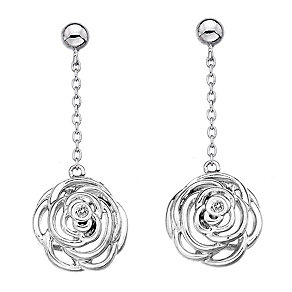 Hot Diamonds Eternal Rose Sterling Silver Drop Earrings - Product number 1997122
