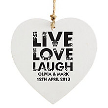 Personalised Heart Decoration- Live Love Laugh Design - Product number 1997378